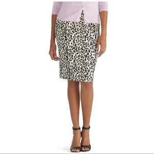 White House Black Market Leopard Pencil Skirt